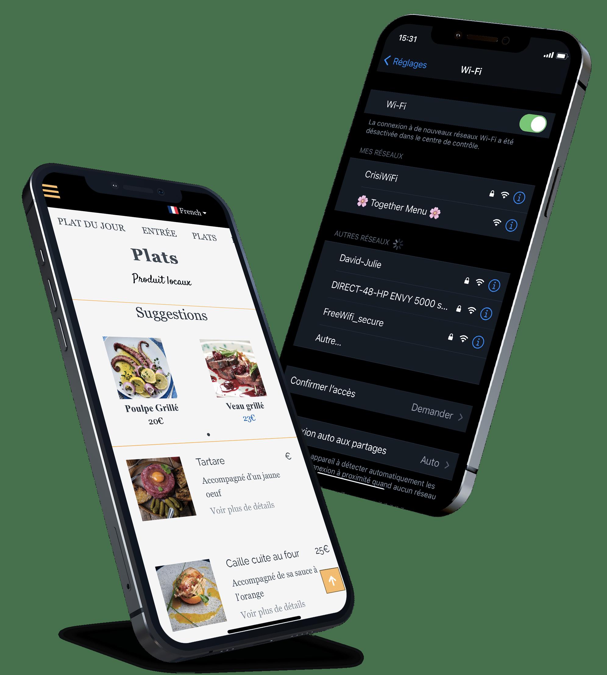 """<h1 style=""""color:#fff""""> Le menu digital pour restaurant plus simple que le QR code </br> </h1>"""